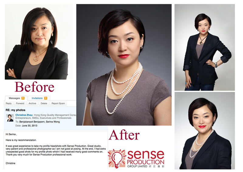 christine zhou testimonials: It was great experience to take my profile headshots with Sense Production. Great studio, very patient and professional photographer as I am not good at posing. At the end, I had extra unexpected good shots for my profile photo which I had received many good comments on. Thank you very much for Sense Production professional work.