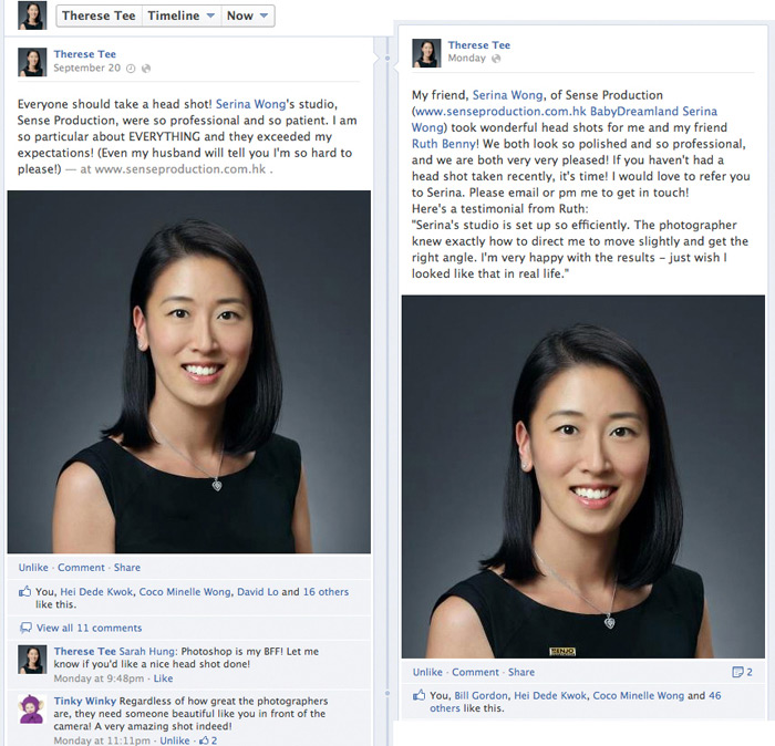 therese tee testimonials: everyone should take a head shot! Serina Wong's studio, Sense Production Group Ltd, were so professional and so patient. I am so particular about EVERYTHING and they exceeded my expectations! (Even my husband will tell you I am so hard to please!